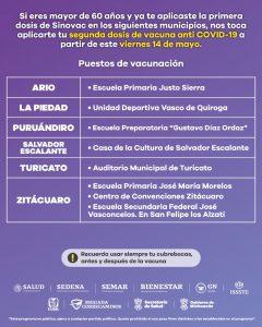 Este viernes, aplicación de segunda dosis de vacuna Sinovac en 6 municipios
